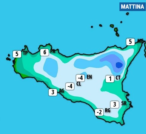 Agrigento si sveglia con 3 gradi: queste le temperature registrate in Sicilia