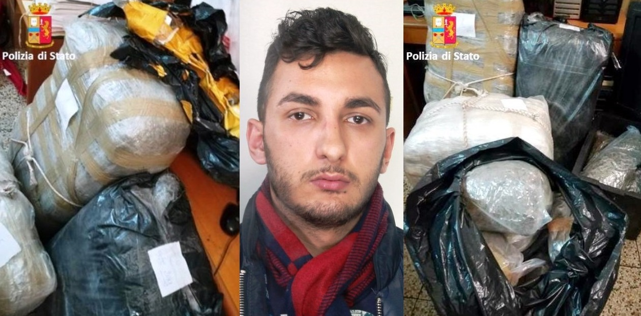 Droga: 90 kg marijuana in garage, arrestato dalla polizia (ft e vd)